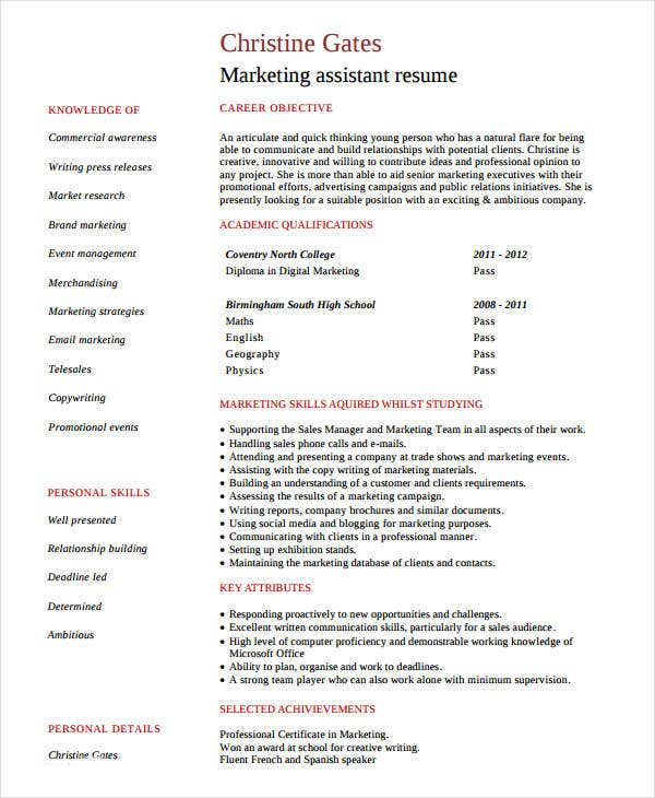 entry level marketing assistant resume2