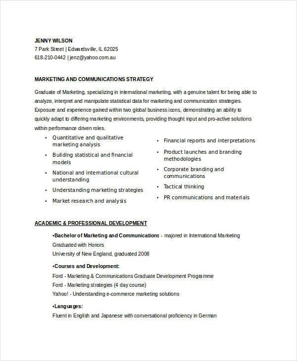 entry level marketing communications resume1
