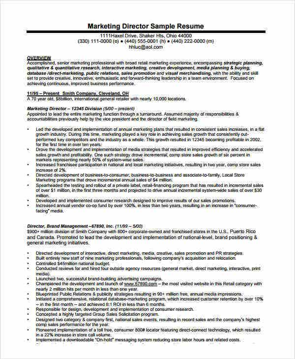 marketing director resume sample - Marketing Director Resume Examples