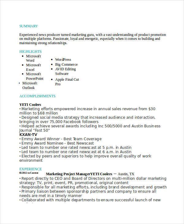 23 marketing resume templates free premium templates