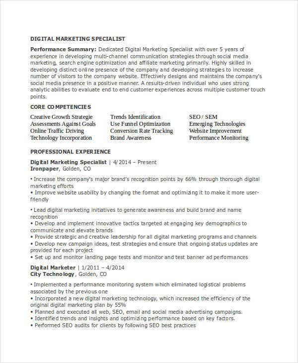 Marketing Resume Templates  Free  Premium Templates