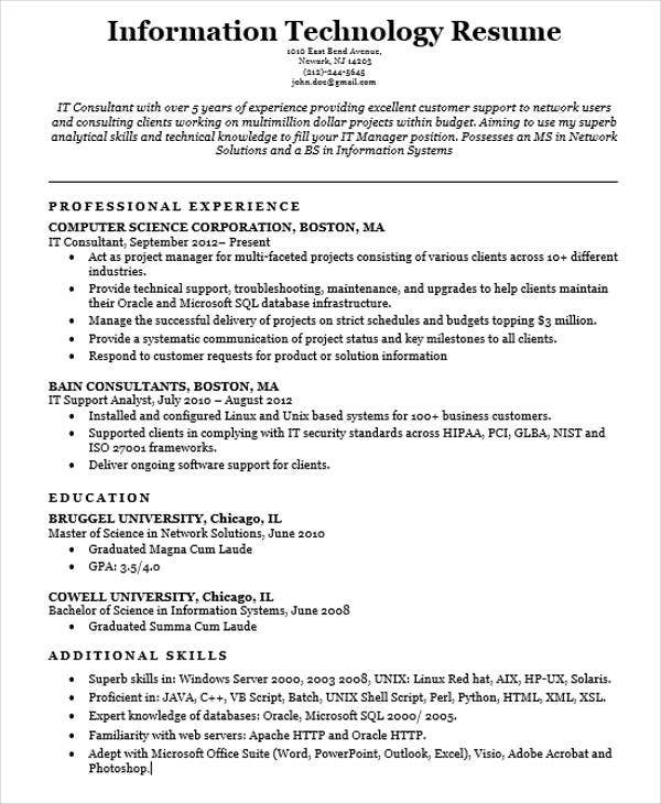 Free IT Resume Sample