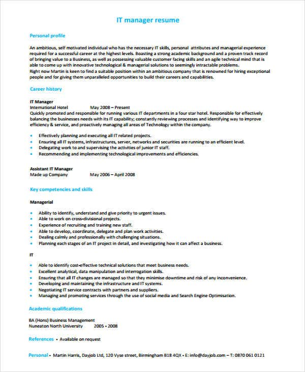 it manager resume pdf