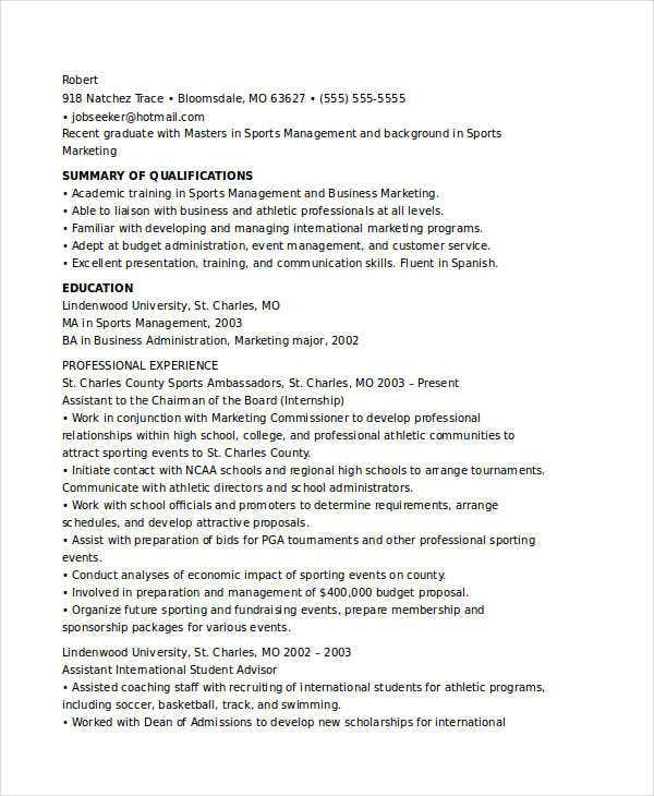 Combination Resume Sample Marketing Communications Manager Pg
