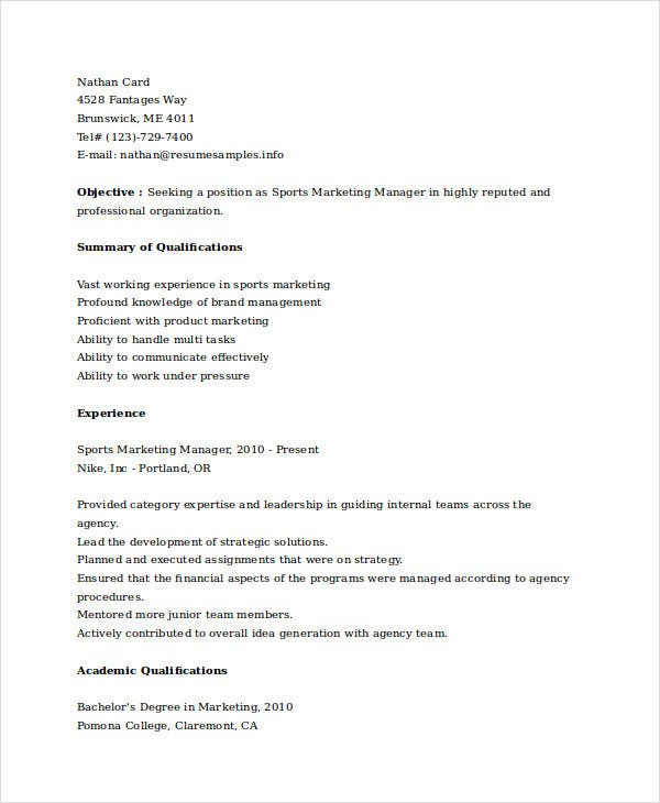 Marketing Resume Templates  Pdf Doc  Free  Premium Templates