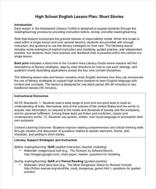 secondary school lesson plan template - 40 lesson plan samples free premium templates