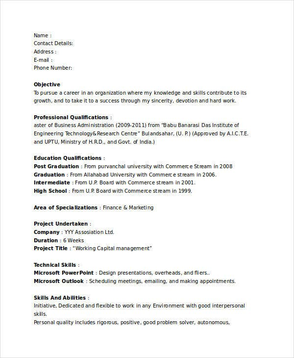 sample resume fresher marketing executive