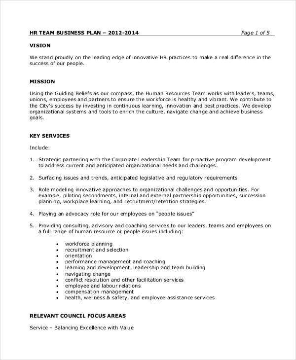 One Page Business Plan Template  CityEsporaCo