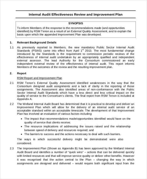 internal audit strategic improvement plan