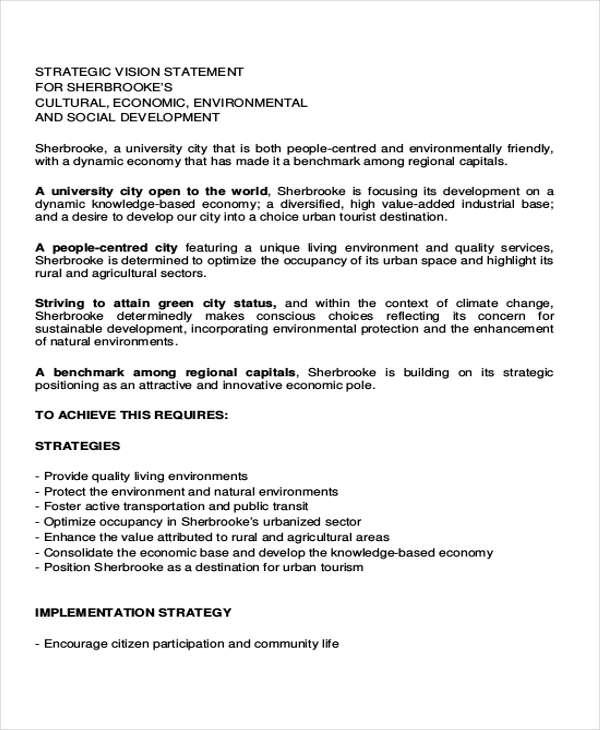 strategic vision plan statement