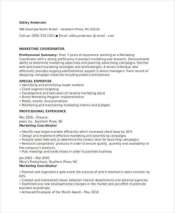 professional marketing coordinator resume - Professional Marketing Resume