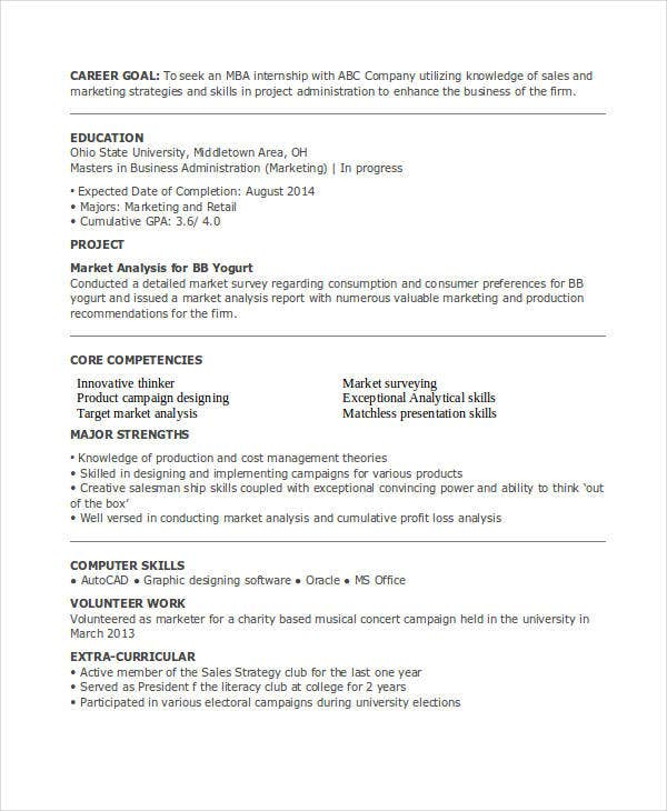 mba marketing internship resume1