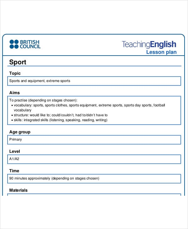40 lesson plan samples free premium templates for Sports lesson plan template