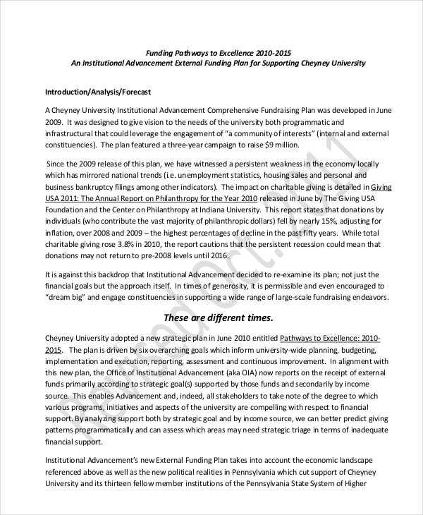 university strategic fundraising plan
