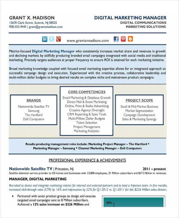 Marketing Resumes Resume Example Social Media Social Media Resume