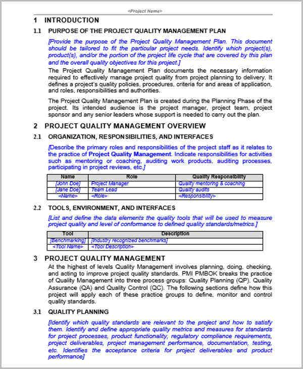 Control Plan Template Project Quality Management Management Plan