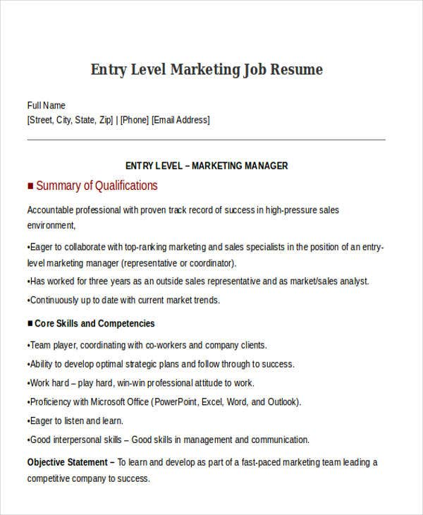 sales and marketing resumes