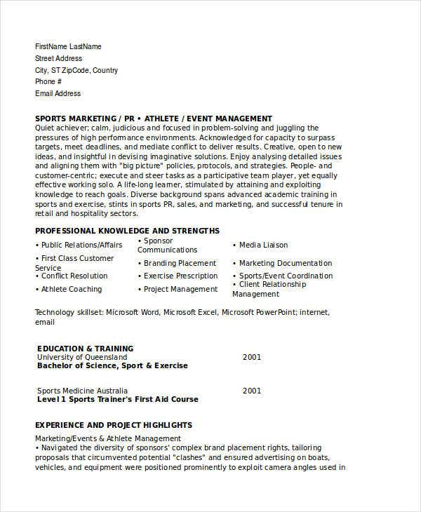 Sports Marketing Resume Templates. Marketing Assisstant Resume. Jobera.com