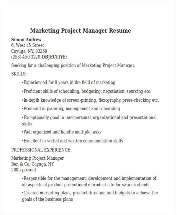 30 simple marketing resume templates pdf doc free premium
