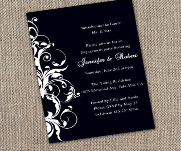 black-and-white-engagement-party-invitation