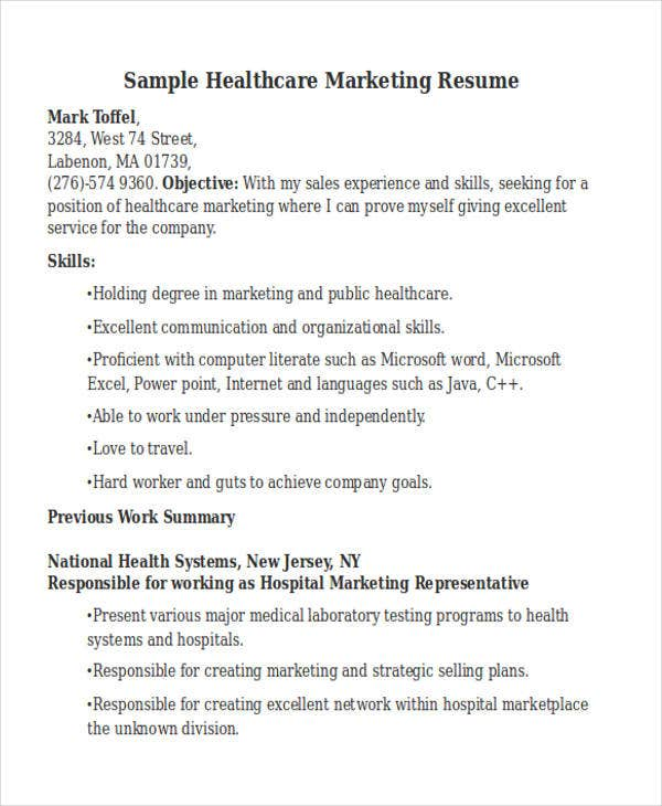 Sample Healthcare Marketing Resume