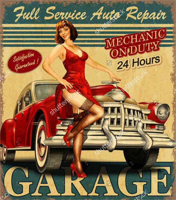 Classic Car Advertising Poster