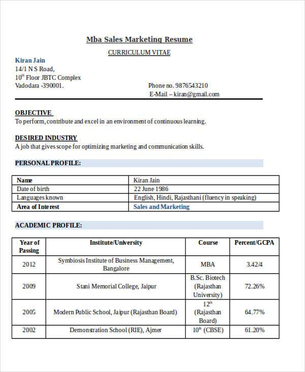 mba sales marketing resume