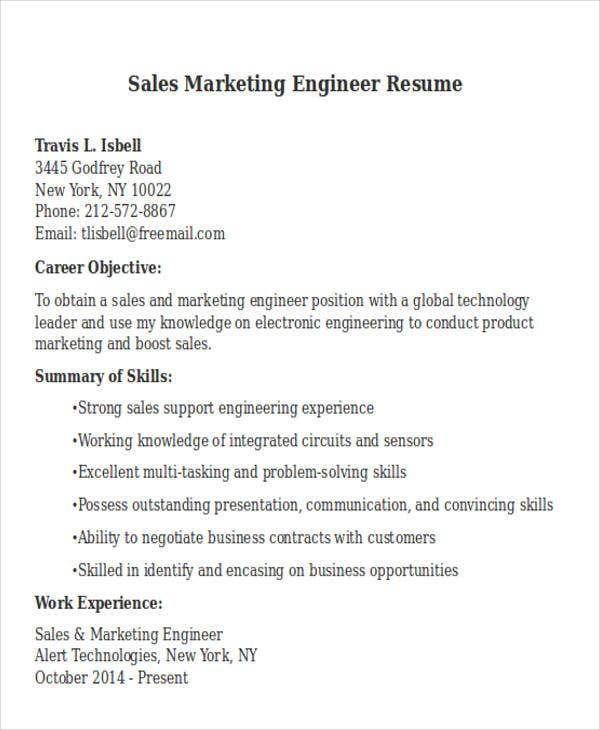 Sales Marketing Engineer Resume. Bestsampleresume.com