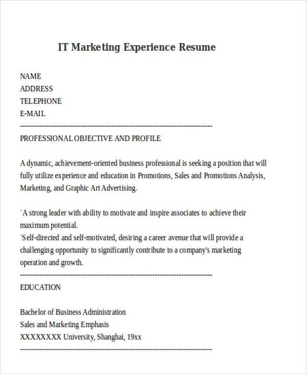 it marketing experience resume1