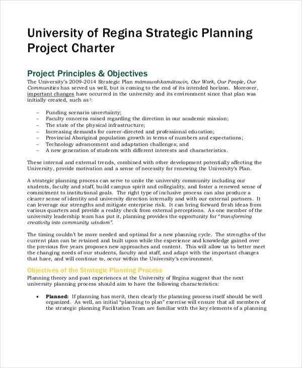 project charter strategic plan