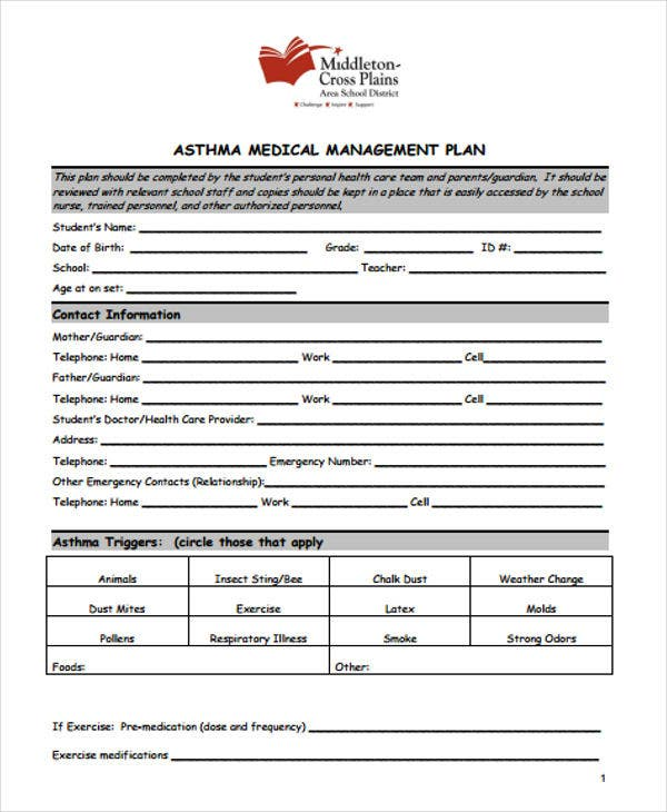 asthma management plan template - 33 management plan templates free premium templates