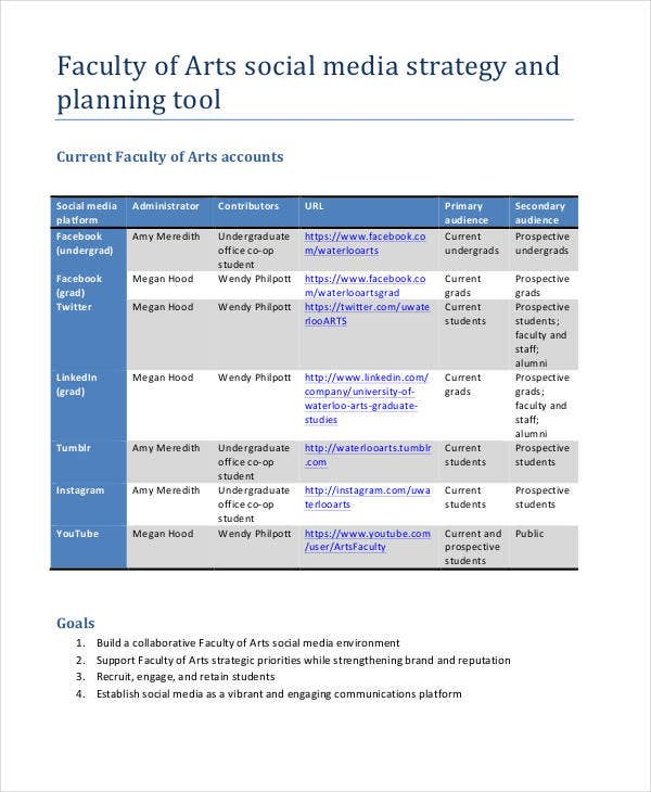 44 strategic plan samples free premium templates for Social media communication plan template