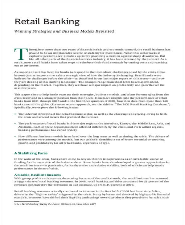 retail banking strategic plan