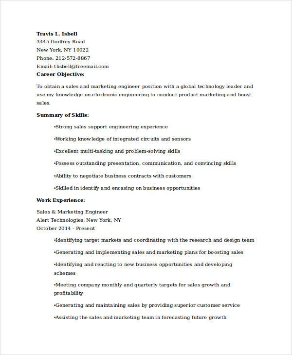 sales and marketing engineer resume4