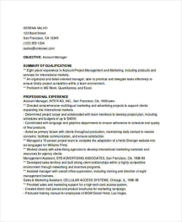 marketing account manager resume8