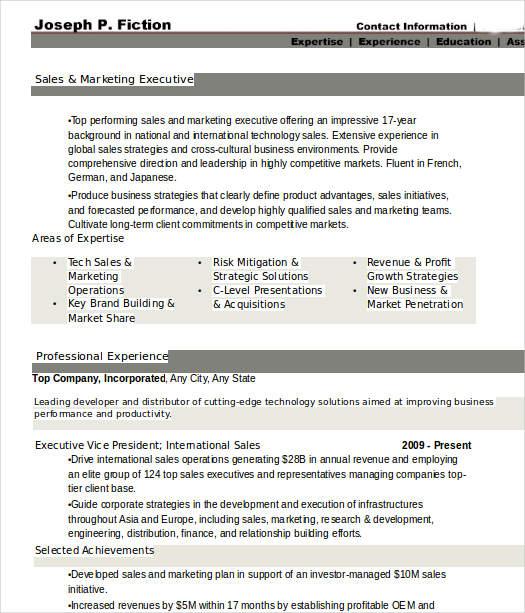 marketing sales executive resume