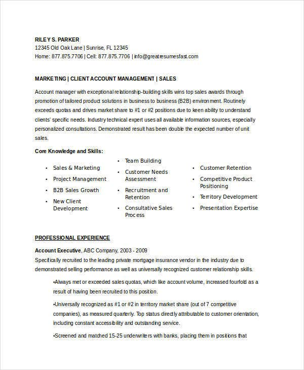 marketing account executive resume10