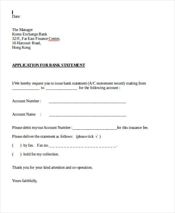 30 application letter templates format free premium templates application letter format for bank statement thecheapjerseys Image collections