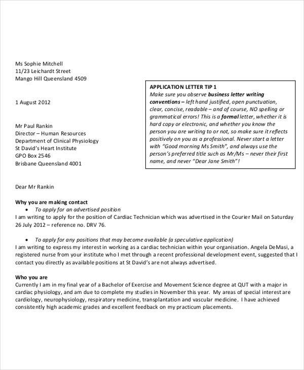 Application letter writing qut careers and