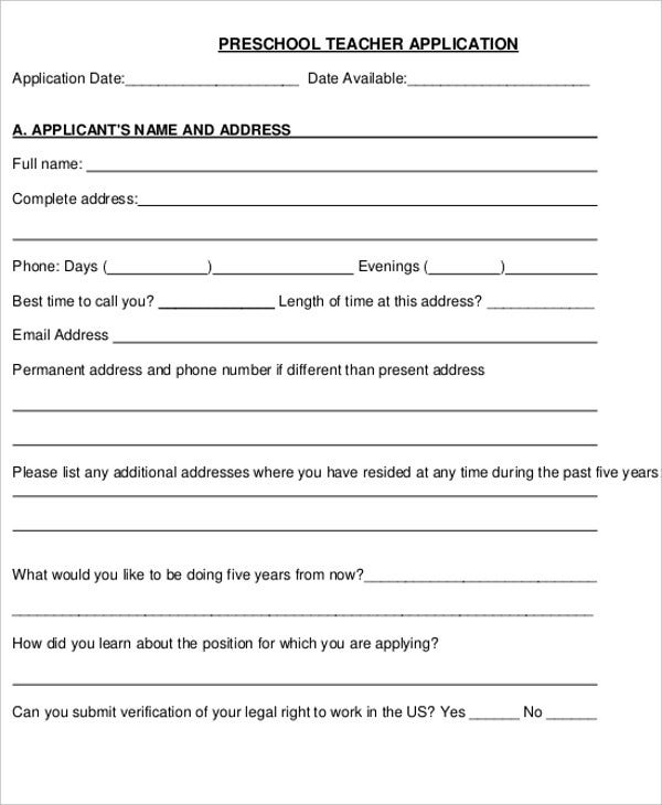 preschool teacher application letter