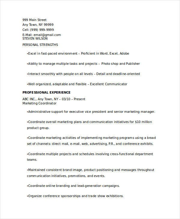 senior marketing coordinator resume1