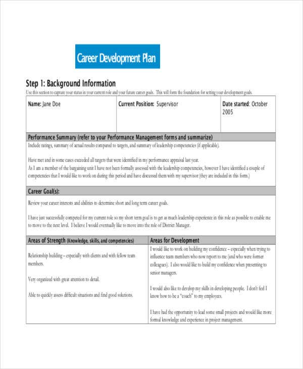 Personal Career Development Plan Template  OloschurchtpCom