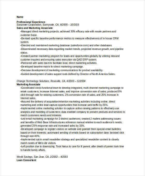 senior marketing associate resume2