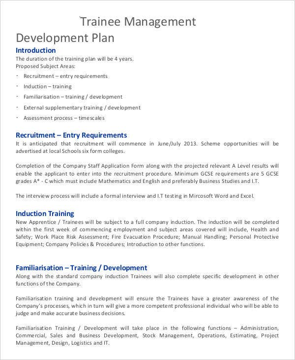 trainee management development plan