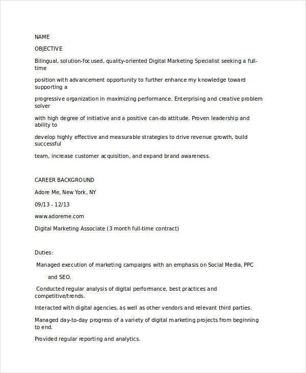 Digital Marketing Resume Examplesdigital Strategist Resume