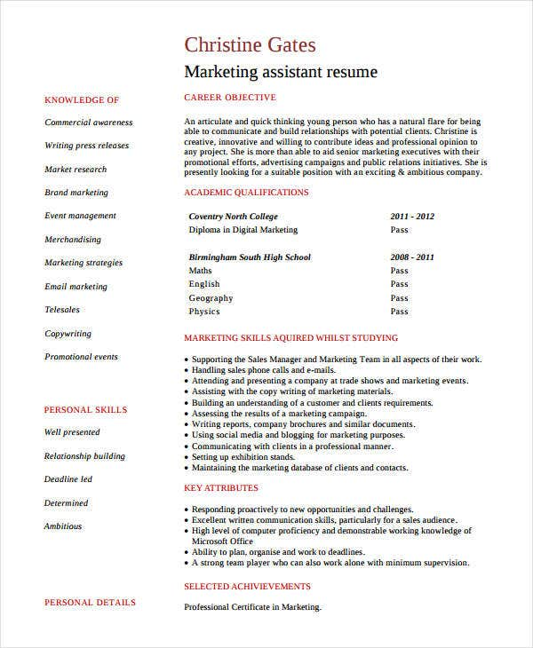 Entry Level Marketing Assistant   Marketing Resume  Entry Level Marketing Resumes