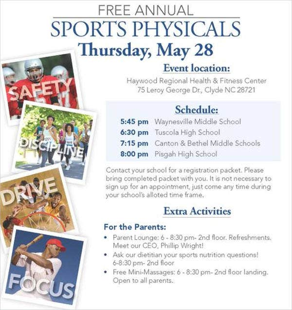 sports physical event flyer1