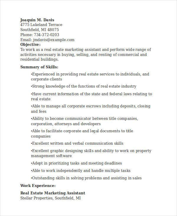 Real Estate Marketing Assistant  Marketing Resume Skills