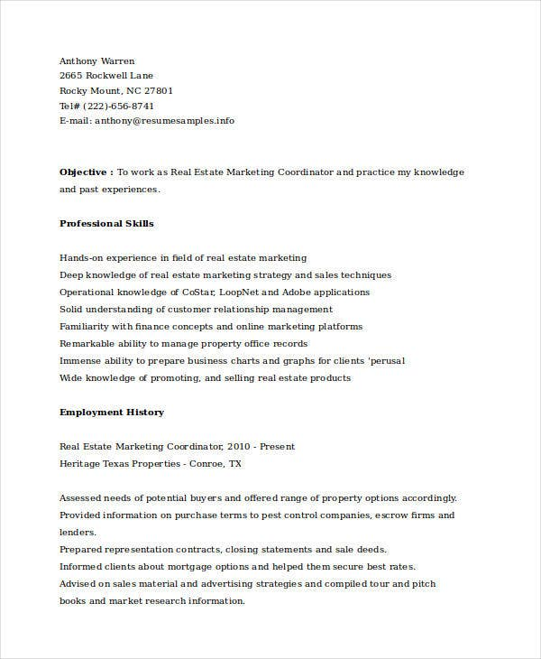 real estate marketing coordinator resume3
