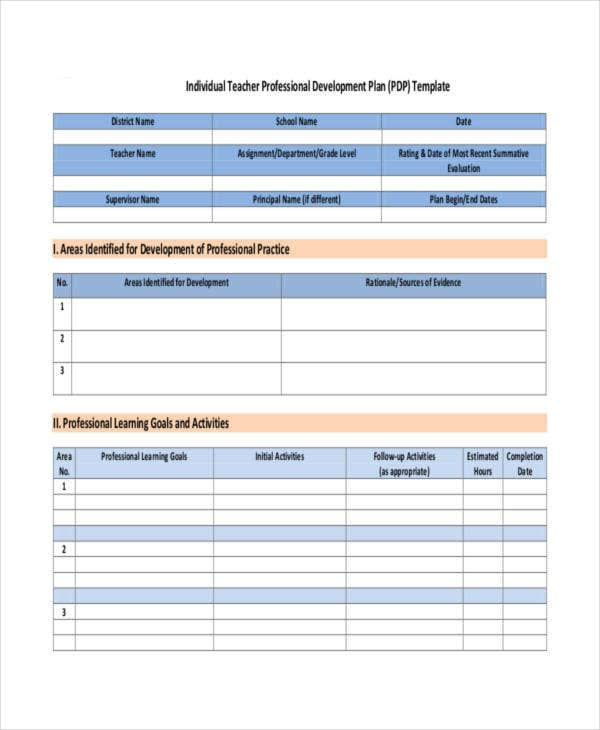 Professional Development Plan Template Professional Development